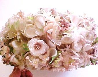 Marshall Fielde Floral Pill Box Hat bridal chiffon mauve cream green taupe vintage