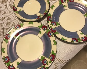 Luster Ware Blue with Red Rose Bud Misc. Sandwich Plates