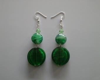 Earrings dangle glass beads green color