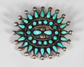 Vintage Native American Cluster Petit Point Turquoise Brooch