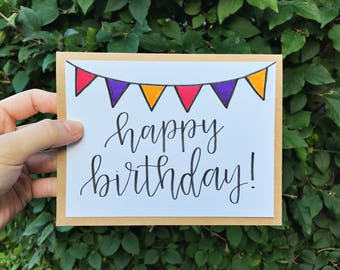 Happy Birthday Greeting Card with Colored Flags - Handmade Calligraphy Birthday Card - Single Card
