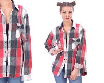 BUFFALO Plaid Shirt 80s Grunge Flannel Thick 1980s Lumberjack Vintage Hipster 80s Jacket Faded Distressed Look Red White Faded Black Large