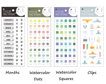 Planner/Journal Sticker Set #3 - Watercolor, Dots, Squares, Months, Clips