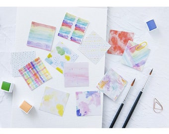 45 Pieces Watercolor Square Stickers - Planner, Journal, Craft, Scrapbooking,Decoration
