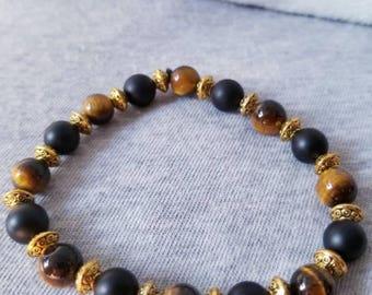 Matte onyx and tigers eye bracelet