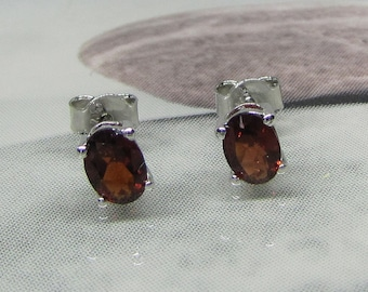 "Earrings ""Nails"" silver and natural garnets"