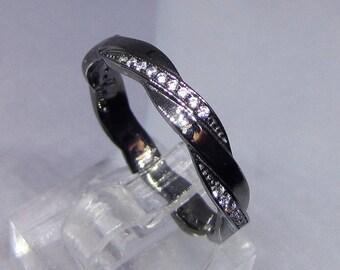 Wedding band ring silver ring black and white Zirconium size 52