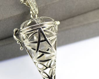 Star Pentagram Cone Locket with Fillable Glass Orb, Memorial Jewellery, Memorial Locket, Urn Locket, Cremation Jewelry, Cremation necklace