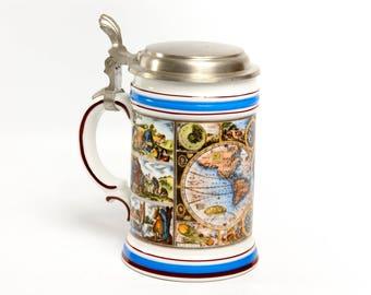 Ceramic beer mug, ceramic beer stein, pewter beer stein, October Fest stein, hunters mug, big mug, German beer stein vintage stein with lid