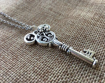 Disney Inspired Minnie or Mickey Mouse Skeleton Key Necklace