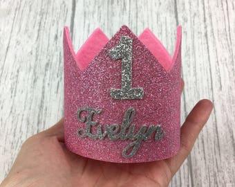 Birthday crown, felt crown, first birthday crown, first birthday, photo props, birthday outfit, cake smash, crown, glitter crown