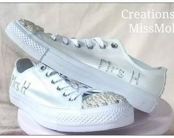 Rhinestone / gem converse/ bridal converse/ wedding converse
