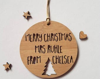 Personalised Merry Christmas Teacher-Wood Christmas Decoration-Present-Ornament-christmas tree-gift-christmas gift-wooden-teachers gift