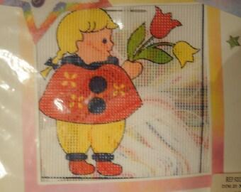 """kit canevas imprimé, """"la fillette aux tulipes"""""""