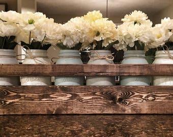 6 Jar Neutral Toned Mason Jar Centerpiece, Mason Jar Decor, Country Decor, Painted Mason Jars, Rustic Home Decor, Farmhouse Decor, Mason Jar