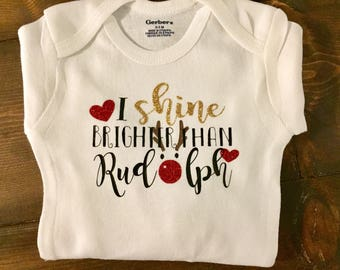 Baby Girl Christmas Onesie Shine Brighter than Rudolph