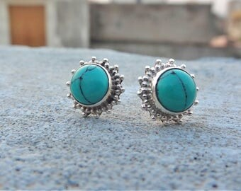 Turquoise earring, 925 solid sterling silver earring, silver turquoise earring, silver earring, stud earring, turquoise stud,women's earring