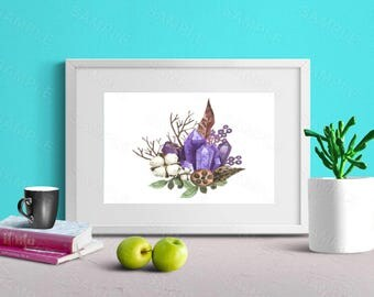 Amethyst, Watercolour, Floral, Wall Art Decor, Printable Wall Print, Instant Download
