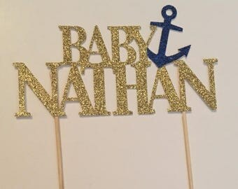 ON SALE Nautical Cake Topper. Baby shower. Boy babyshower. Nautical. Anchor. Sailor. Boy. Its a boy. Under the sea. Blue