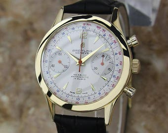 Breitling Chronomat 217012 Solid 18k Gold Swiss Mens Chronograph Watch LV117