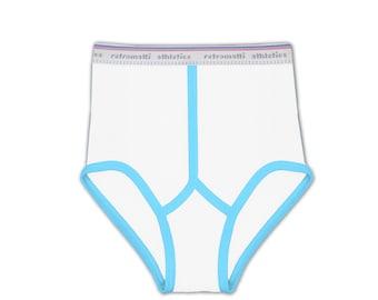 White & Cyan Blue Super High Waist Retro Briefs new jockey briefs 80s 70s vintage underwear y fronts mens briefs chunky modern old school