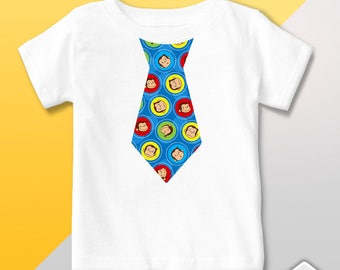 T Shirt Tie Personalized Curious George - Happy Birthday - party gift