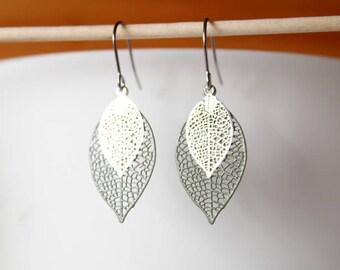 filigree leaf earrings khaki green and silver