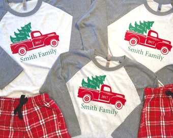 Family Christmas Truck Pajamas, Family Christmas Pajamas, Personalized Pajamas, Infant Toddler Youth Christmas Pajamas, Holiday Pajamas