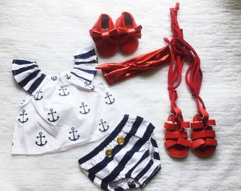 Free shipping,Anchor,Sailor,Baby,Photo,Cake,Smash,Stripes,Outfit,Girl,Princess