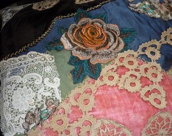 PATCHWORK BOUDOIR CUSHION..Antique Lace..Hand Embroidery..Edwardian Rose..Vintage Silk..Victorian Velvet..pink crazy quilt pillow case cover