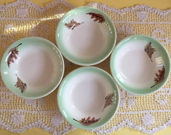 Fall Leaf Pattern with Pale Green Rim Vintage Dessert or Fruit Dishes