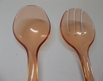 Vintage Plastic Salad Spoon And Fork Set Orange