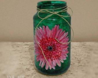 Vase Glass Green Flower Pink