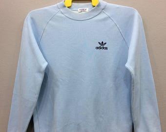 Vintage Adidas Trefoil Small Logo Sweatshirt Long Sleeve Blue Color Streetwear Activewear Sport ClothingUnisex Adult