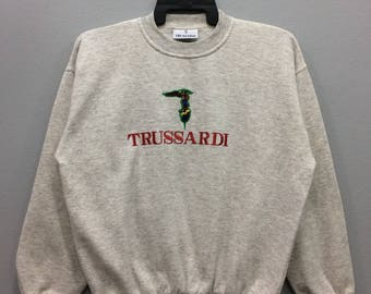 """Vintage Trussardi Sweatshirt Jumper Embroidered Spell Out Big Logo Streetwear Casual Clothing Chest 22.5"""""""