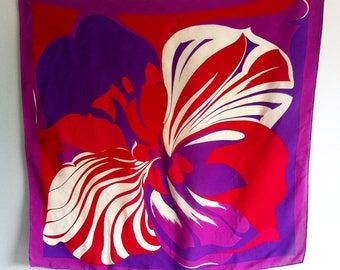 Vintage red, purple silk scarf, hand rolled, 75cm x 75cm.