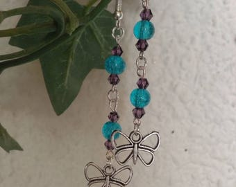 Earring dangle butterfly and glass bead