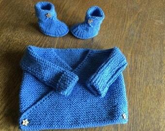 Newborn baby set jacket and booties