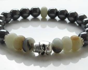 Mens Hematite And Amazonite Gemstone Skull Bracelet - Gift For Him/Father's Day/Birthday Gift
