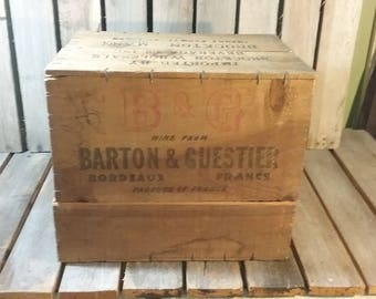 Vintage Wooden Wine Crate/Made In France/Wooden Shipping Crate/Vintage Wine Box/Old Wine Crate/Vintage Wood Crate/Old Wooden Crate/Crates