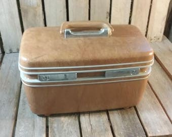 Vintage Train Case, Samsonite Suitcase, Vintage Makeup Box, Travel Box, Vintage Luggage, Brown Luggage, Old Luggage, Brown Suit Case,