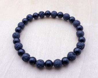 Black Onyx Bracelet | Lava Rock Bracelet | EO Jewelry | Diffuser Bracelet | Men's Bracelet | Women's Bracelet
