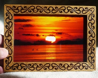 Wooden Frame Celtic Vintage Style Free Shipping Wood Engraving Handmade Gift Holz Oak Xmas Christmas Birthday Father's Day