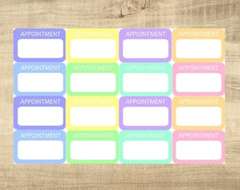 """16 Pastel Multi-Coloured """"Appointment"""" Stickers for Erin Condren LifePlanner"""