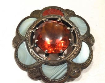 "SALE BUY NOW Scottish Antique Brooch Pin - Cairngorm Citrine, Agate, Jasper - Victorian Style Pendant - 1-3/4"" Diameter"