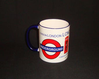 London City Style Mug Blue Handle & Rim