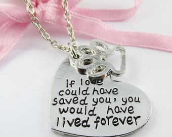 Pet Memorial Message Paw Print Live Forever Heart Charm Necklace 46cm