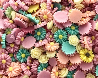 Pastel small  flowers 10mm-15mm 30pc set
