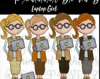 Laptop Girl digital clip art small commercial use ok, great for planner stickers