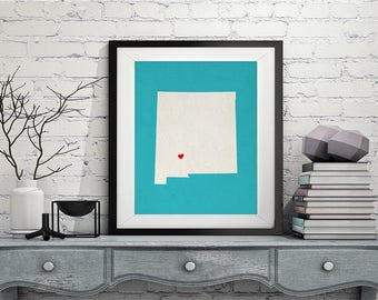 Custom New Mexico State Art, Customized State Map Art, Personalized, New Mexico Art, Heart Map, New Mexico Map, Love Map, New Mexico Print
